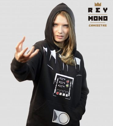 model with Darth Vader sweatshirt